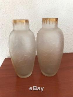 Paire de vases art nouveau Montjoye Legras décor émaillé iris