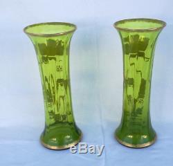 Paire de vases cristal baccarat vert décor floral a l'or ART NOUVEAU