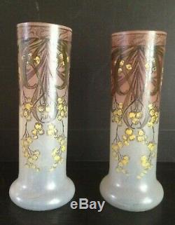 Paire de vases émaillés à décor floral de mimosa par Legras Art Nouveau Leg 1900