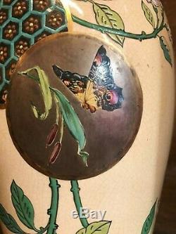 Paire de vases en céramique art nouveau 1900 H48cm émaux genre longwy Bordeaux