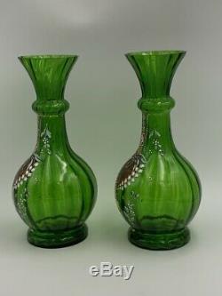 Paire de vases en verre Legras décor muguet Art Nouveau XIXe Antique glass vase