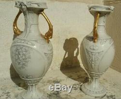 Paire de vases porcelaine Royal Dux Bohemia Art Nouveau fin XIX début XX