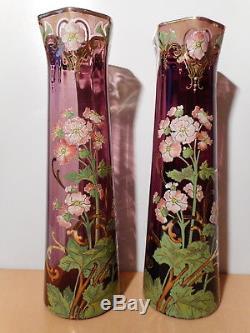 Paire grand vase verre émaillé 43 cm ancien art nouveau 1900 Legras floral