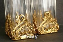 Paire vases ART NOUVEAU Verre taillé en facettes monture bronze laiton doré 1900