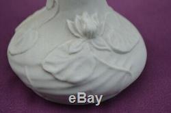 Paire vases porcelaine biscuit Art Nouveau Jugendstil signé AN (no Daum Gallé)