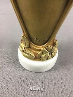 Par A. M. Paignant Vase en bronze doré sur marbre Art Nouveau Jugendstil