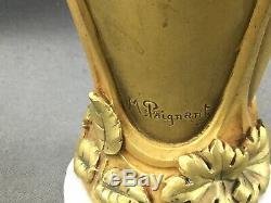 Par Paignant Tres Beau Vase Art Nouveau En Bronze Circa 1900