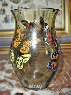 Paul Nicolas Nancy Vase papillons émaillé Art Déco Gallé d'Argental art nouveau