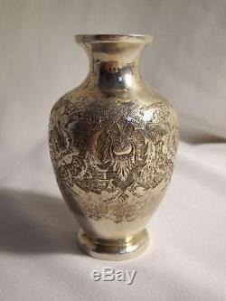 Petit VASE ancien ARGENT ciselé de PERSE vers 1900 9 cm de haut