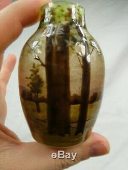 Petit Vase Art Nouveau Verre Emaille Legras 1900