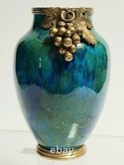 Petit Vase Faïence de Sèvres (fabrique Paul Millet) monture Art Nouveau 19e