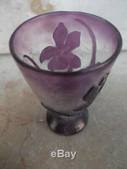 Petit vase Gallé pré art nouveau circa 1890 gravure fleur Nancy 6,4 cm miniature