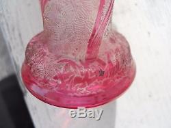 Petit vase art nouveau 1900 Legras Monjoye Baccarat décor de fleurs fond givré