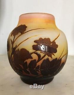 Petit vase de vitrine Verre Multicouche EMILE GALLE Art-Nouveau Cameo Forme RARE