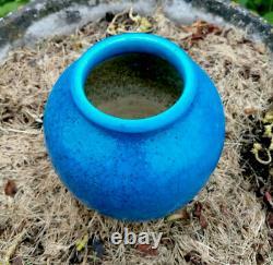 RAOULT EDMOND LACHENAL vase céramique bleu craquelée faïence Art Nouveau Déco