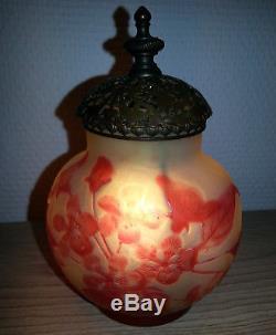 RARE AUTHENTIQUE MAGNIFIQUE ancien VASE LAMPE VEILLEUSE signé GALLE Art Nouveau