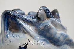 RARE FAIENCE ART NOUVEAU vase femme vague marine SIGNATURE à identifier cache-po