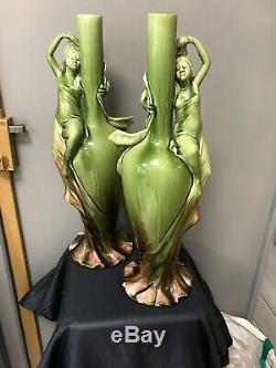 RARE PAIRE DE VASES BOUTEILLE ART NOUVEAU D. MASSIER 1836/1907 h 52 cm vallauris