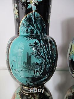 RARE Paire de vases faïence ART NOUVEAU peint main Keller Guerin Lunéville 1900
