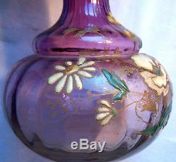 RARE Vase Art Nouveau, forme originale, verre violet émaillé de fleurs Legras