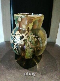 RARE Vase Rousseau LEVEILLE pâte de verre Japonisant pré art nouveau 1885/90