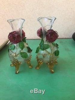 RARE paire vases verre autrichien loetz Harrach 1900 art nouveau