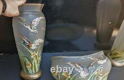 Rare Paire De Vases+jardiniere Verre Emaille Canards Iris Art Nouveau Legras
