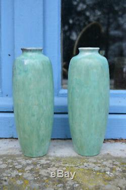 Rare Paire Vases Signés Henri Gandais Vers 1900/10 Style Art Nouveau H 22cm