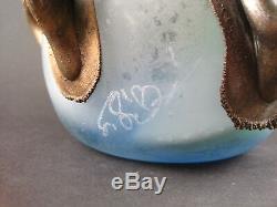 Rare Vase Design Artistique Moderniste Style Art Nouveau Pâte de verre et Bronze