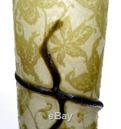 Rare Vase En Pate De Verre Signe Emile Galle Art Nouveau 1895 Nancy No Daum