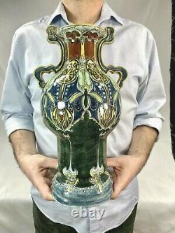 Rare Vase Jan Willem Mijnlieff Utrecht Gouda céramique Art nouveau Liberty 1900