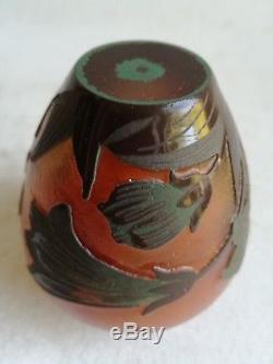 Rare Vase Miniature Pte De Verre Emile Galle French Art Glass Vase Art Nouveau