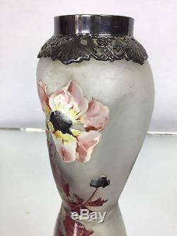 Rare Vase Signé Epoque Art Nouveau Givré Et Emaillé Monture En Metal Argenté