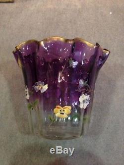 Rare, énorme Vase ancien en verre, décor émaillé Legras Montjoye Art Nouveau