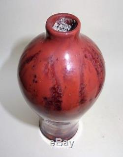 Rare paire de vase art nouveau en grés irisé signé desvres