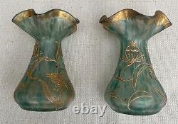 Rare paire de vases Loetz Art Nouveau Numéroté IV / 706 décor doré chardons