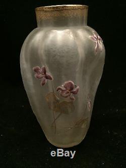 Rare vase Art Nouveau givré a l'acide émaillé Legras Montjoye Saint Denis 1900