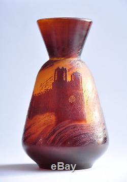 Rare vase Gallé vase de guerre Reims 1914 pâte de verre Art Nouveau Jugendstil