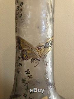 Rare vase gravé a l'acide et émaillé signé Montjoye legras Art Nouveau 1900