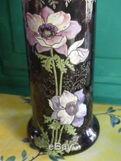 Ravissant Vase Lamartine aux fleurs, violine et Or, émaillé LEGRAS Art nouveau