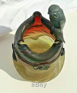 Rindskopf Pepita Vase jugendstil Irisé ART NOUVEAU Haida bronze bird oiseau RARE