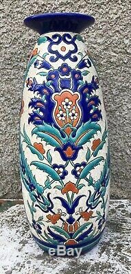 Royal Boch Keramis Vase en Faïence Art Nouveau Décor Fleurs XXe Vers 1920