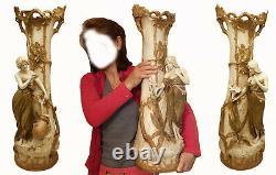 Royal Dux Immense Paire Vases Art Nouveau Eduard Eichler Premiere Periode H 70