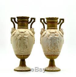 Royal Dux Paire vases porcelaine Bohème Art nouveau Porcelain vases Bohemia 1900