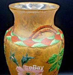 SEVRES, RARE vase art nouveau verre dégagé à l'acide et émaillé, daum, gallé, muller