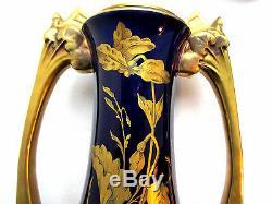 SUBLIME vase Art Nouveau SAINTE RADEGONDE, céramique bleu de four, feuillage OR
