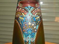 SUPERBE ANCIEN VASE Art Nouveau en Céramique Emaillée Irisé de MONTIERES AMIENS