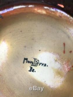 SUPERBE COUPE MONTIERES BAROL irisée émaillé amiens art déco nouveau no vase