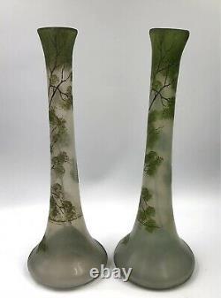 SUPERBE PAIRE Vases verre émaillé paysage lacustre Art-Nouveau LEGRAS 1900 Daum