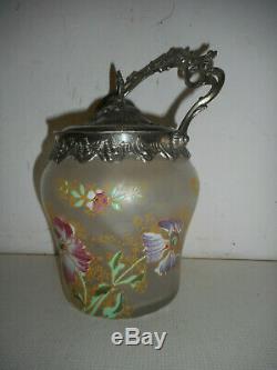 Seau a biscuits en verre emaillé Legras. ART NOUVEAU. Vase